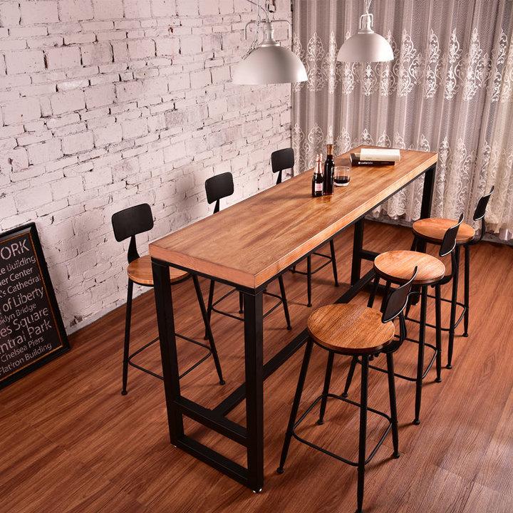 美式酒吧台铁艺实木吧台图片