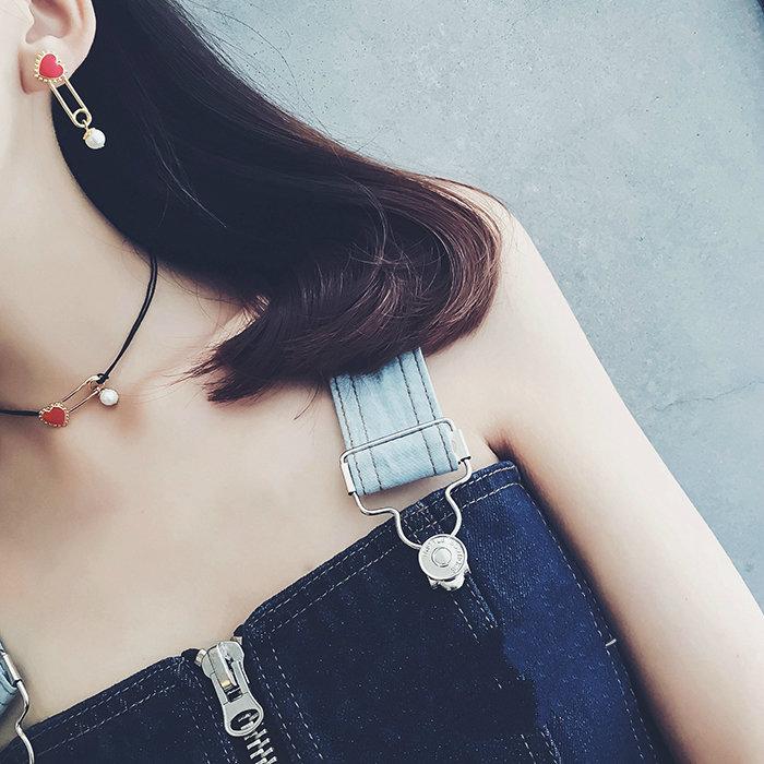 红心珍珠项链/耳环图片